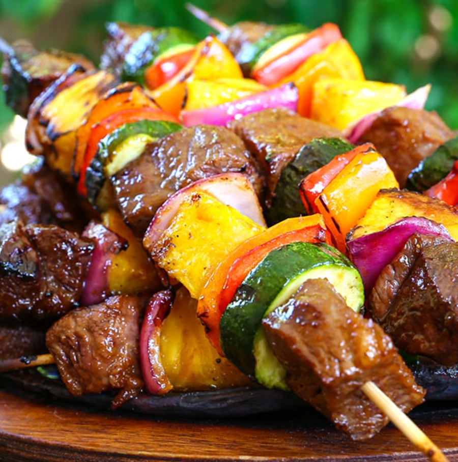Grilled Hawaiian Beef Kabobs