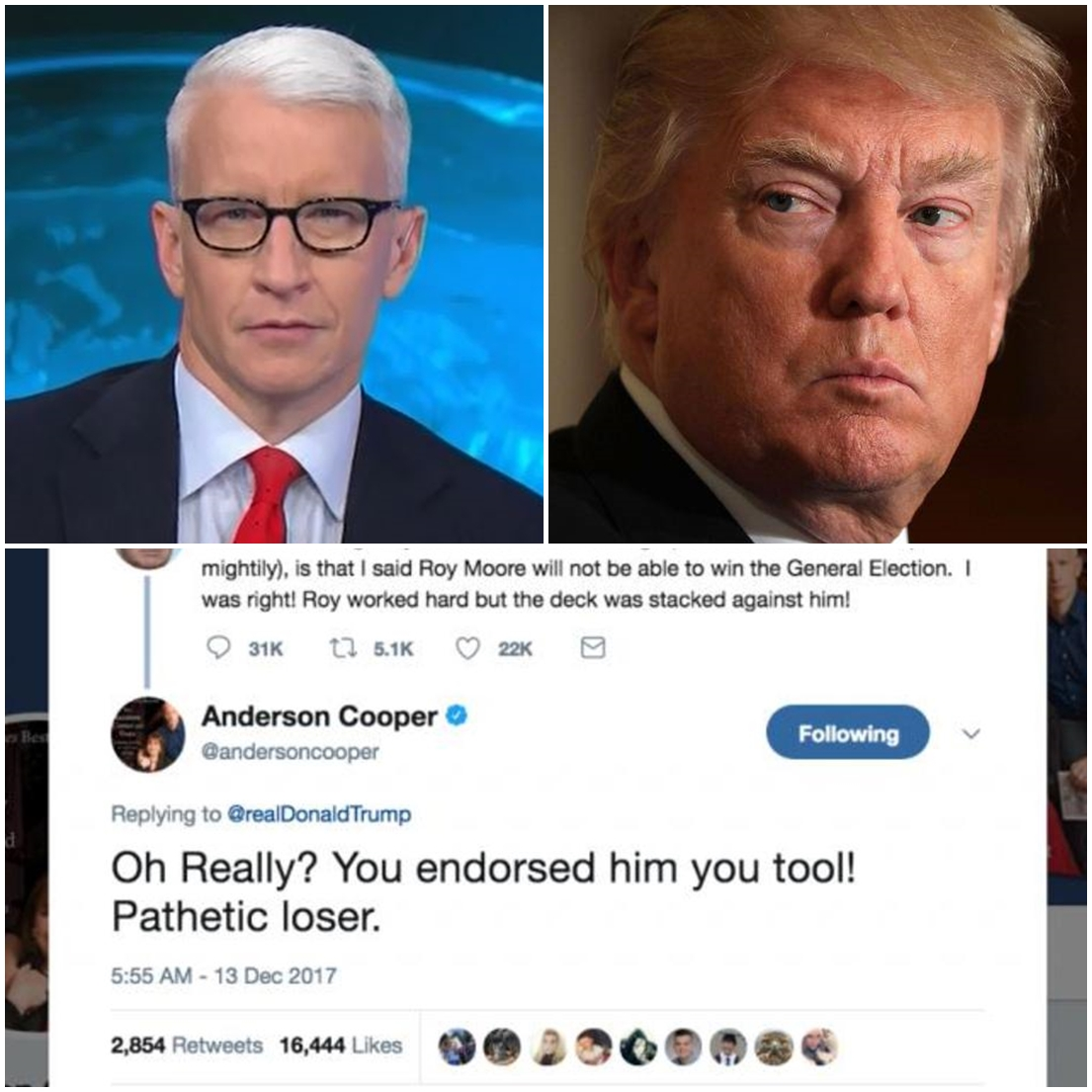 Anderson Cooper says Twitter account hacked after tweet calling Trump a 'pathetic loser'
