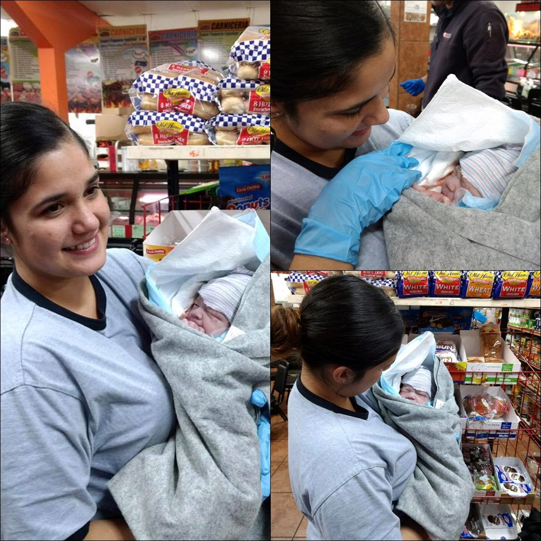 woman gives birth grocery store