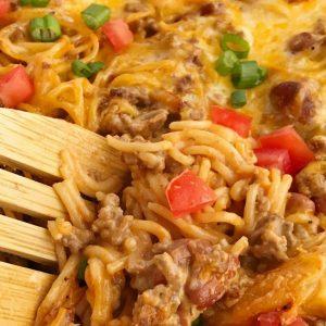 Cheesy Taco Spaghetti Casserole