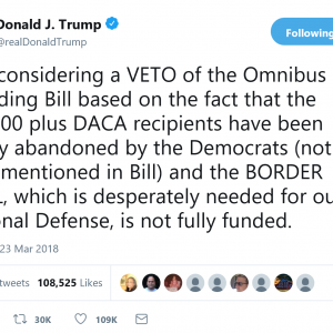 President Trump Considering A VETO Of The $1.3 Trillion Spending Bill