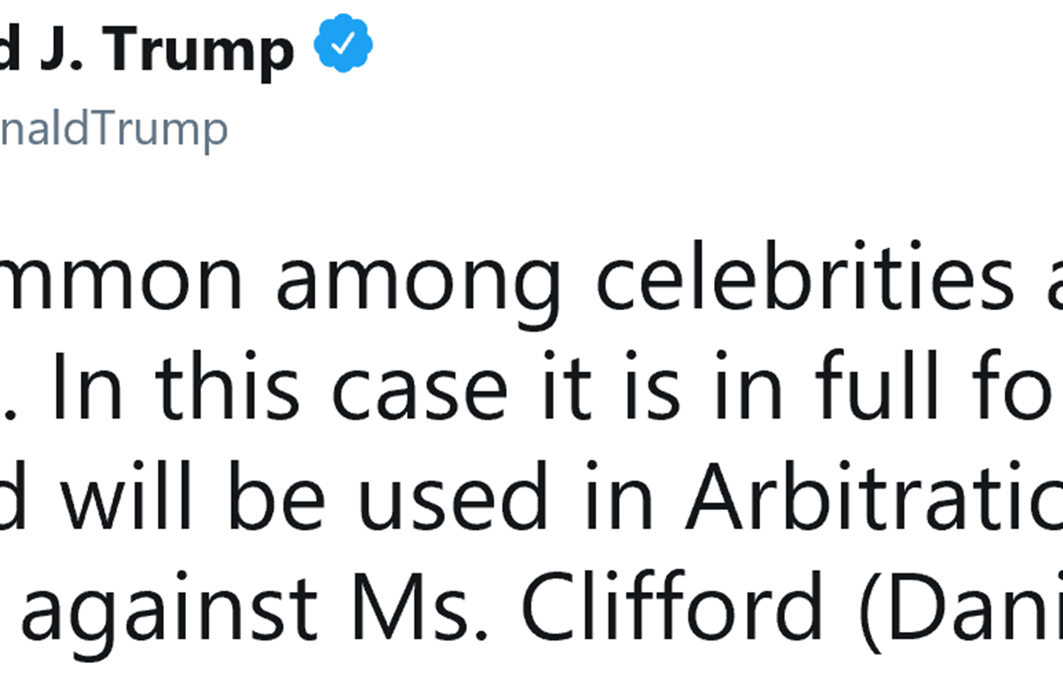 President Trump Tweets About The Stormy Daniels Payout
