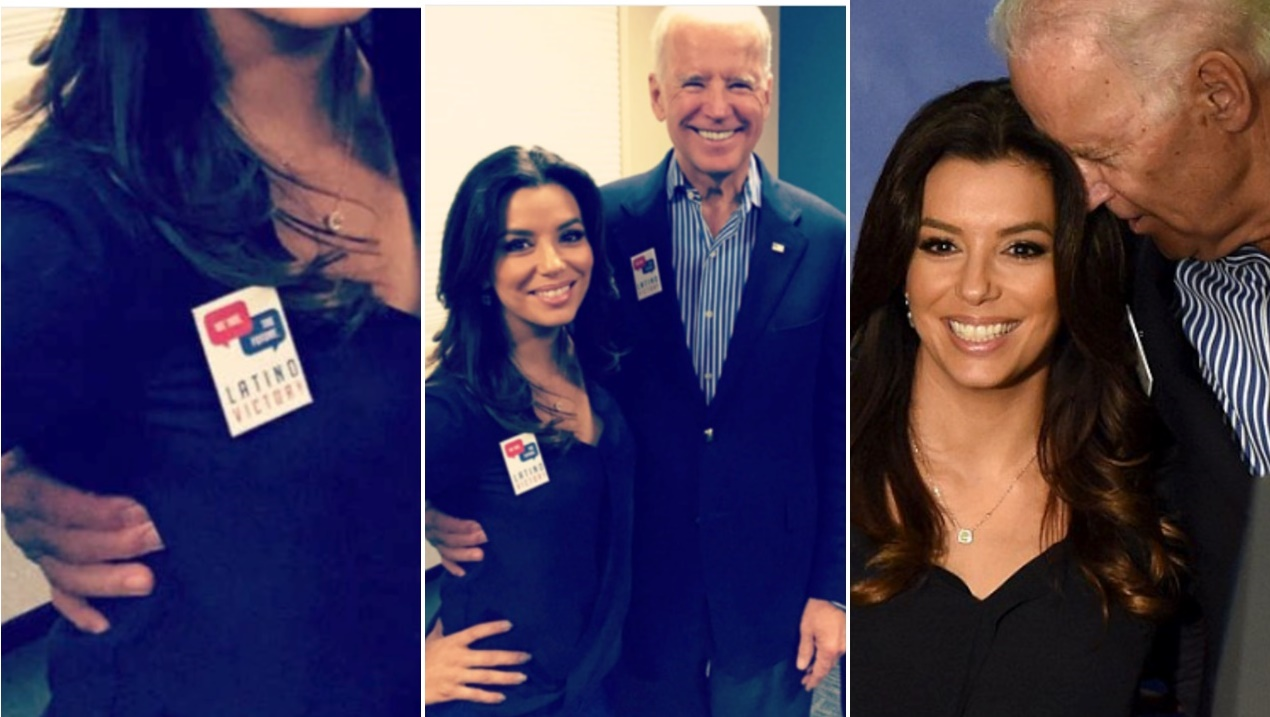 Photos of Joe Biden Sniffing Eva Longoria's Hair and Slides His Hand Right Into Second Base